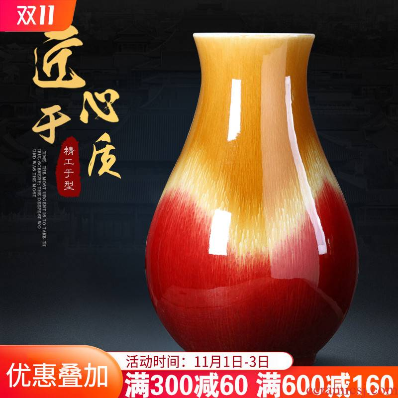 Jingdezhen ceramics antique ruby red vase furnishing articles home sitting room porch rich ancient frame size adornment arranging flowers
