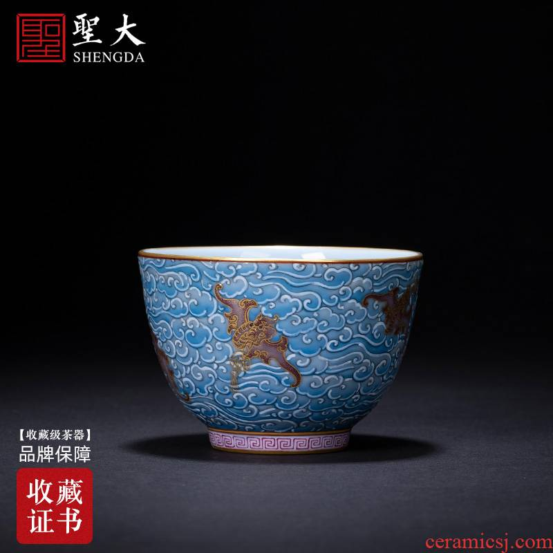 Santa teacups hand - made azure glaze see colour wufu ceramics kung fu masters cup sample tea cup manual of jingdezhen tea service