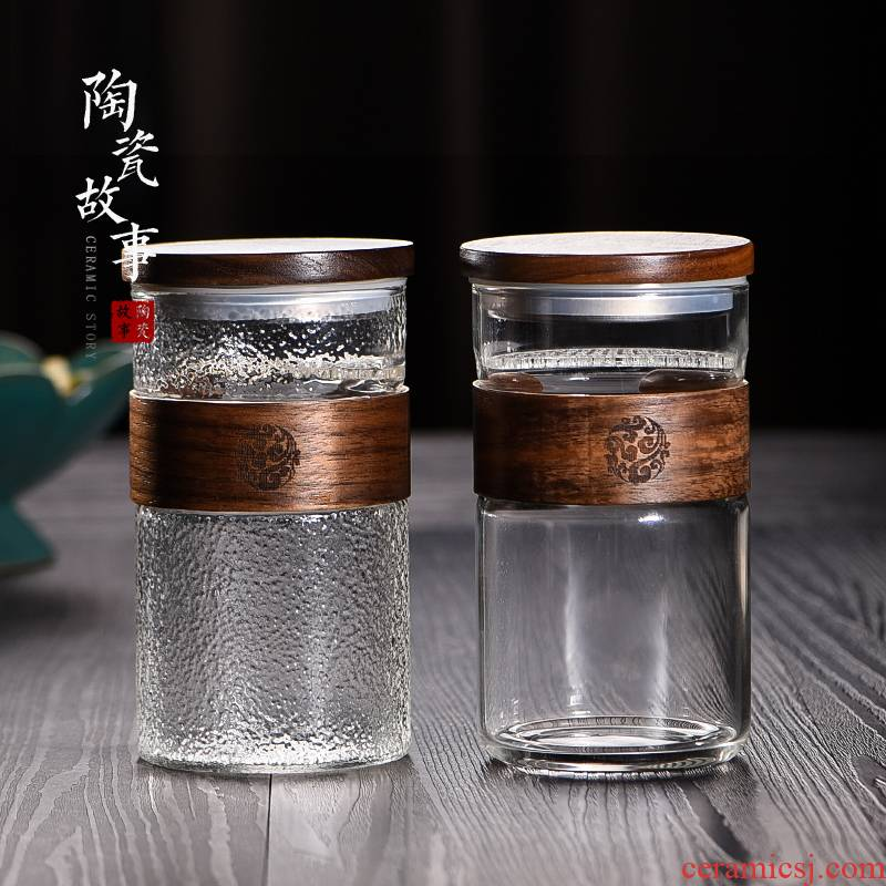 Ceramic story glass office portable filtration separation water cup tea tea cup with cover cups crescent cup