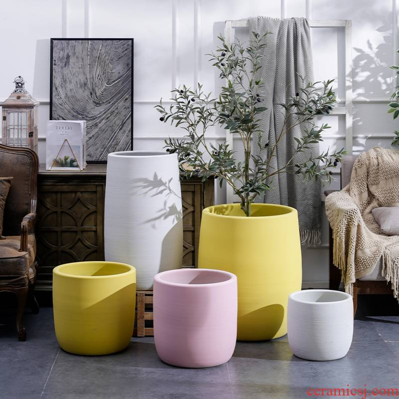 I and contracted flowerpot vase Nordic ceramic green plant hydroponic POTS of large diameter indoor plant decoration decoration cylinder