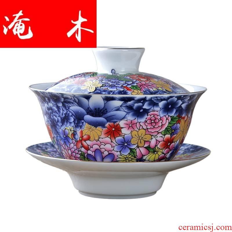Flooded wooden flower splendid tureen ceramic white porcelain kung fu tea set three medium cup tea bowl to bowl of jingdezhen manual methods