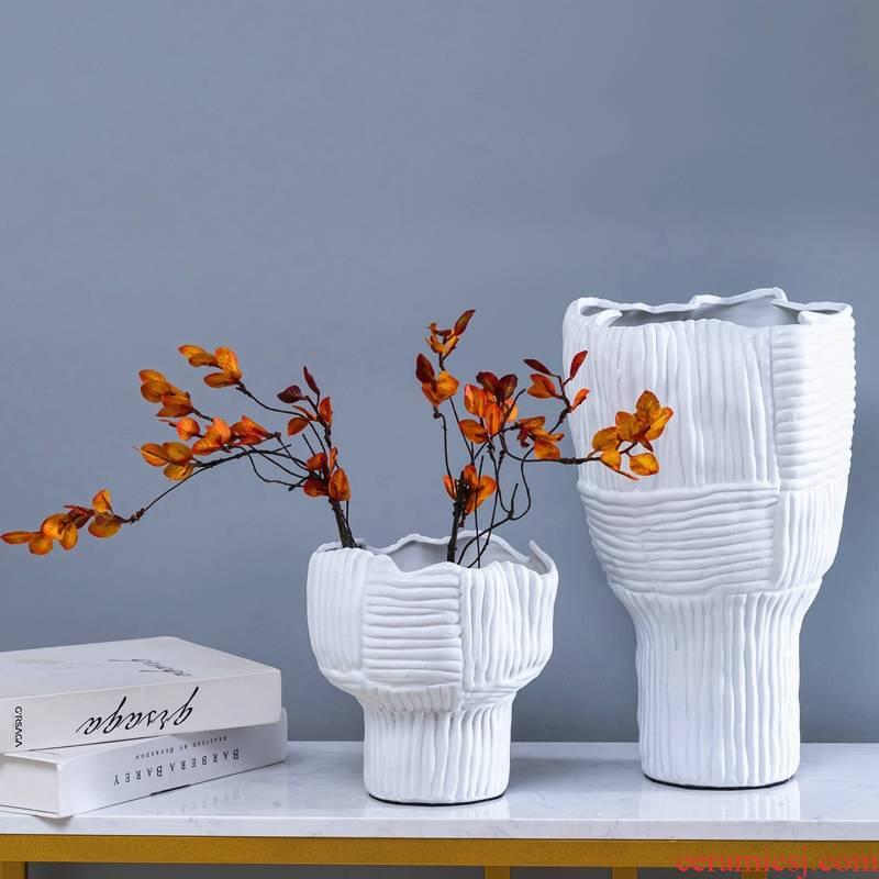 Modern ceramic vase creative weave stripe ding white soft furnishing articles dry flower flower arranging hotel mock up room decoration