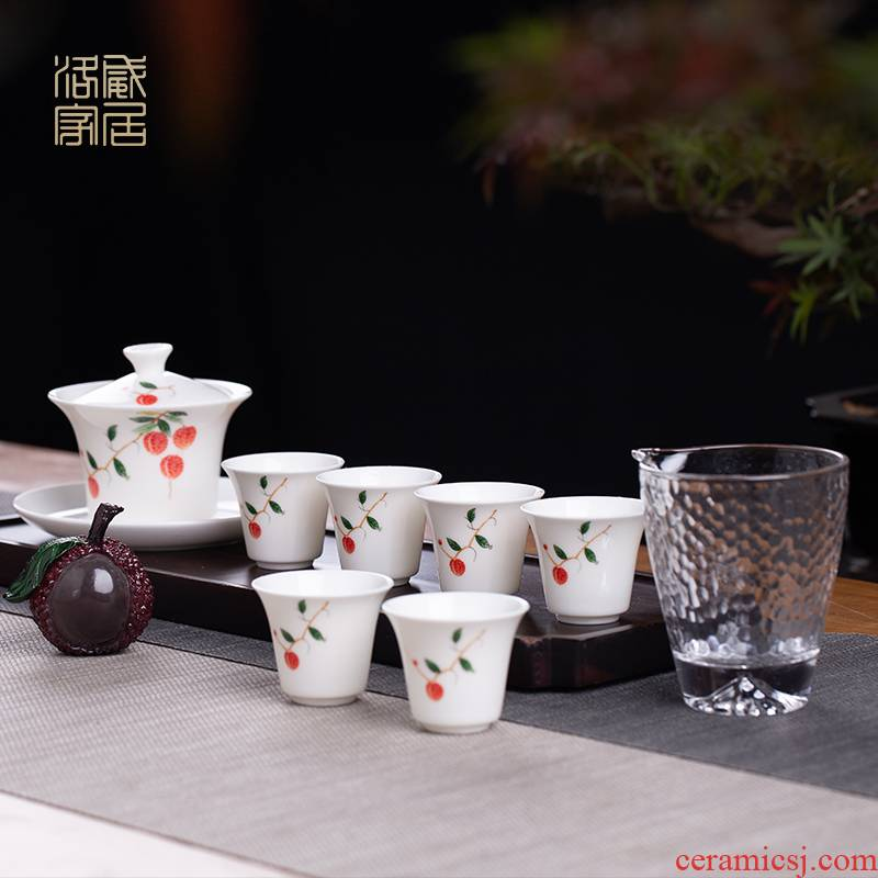 Litchi, tea set suit household jingdezhen ceramic tea tureen small Chinese kungfu tea of a complete set of gift boxes