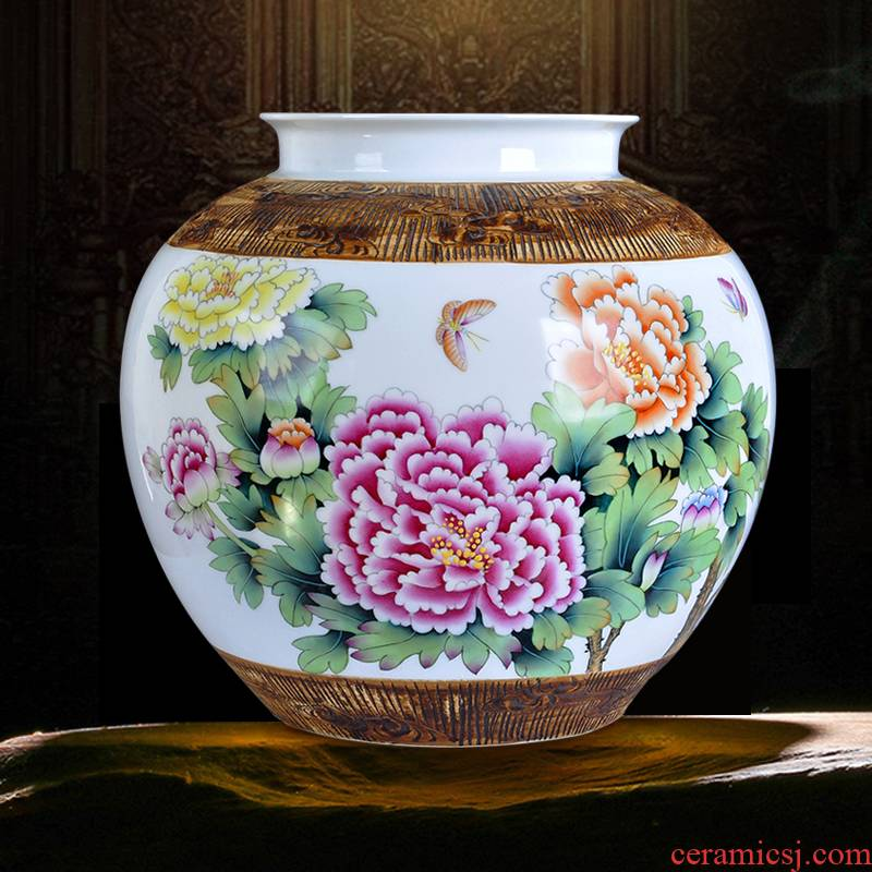 Hand made peony jingdezhen porcelain of ceramic art furnishing articles wide expressions using vase pot - bellied blooming flowers sitting room furnishing articles