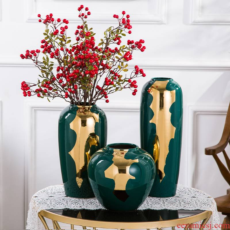 European ceramic vases, new Chinese style restoring ancient ways of creative dry flower, flower implement home decoration key-2 luxury furnishing articles sitting room