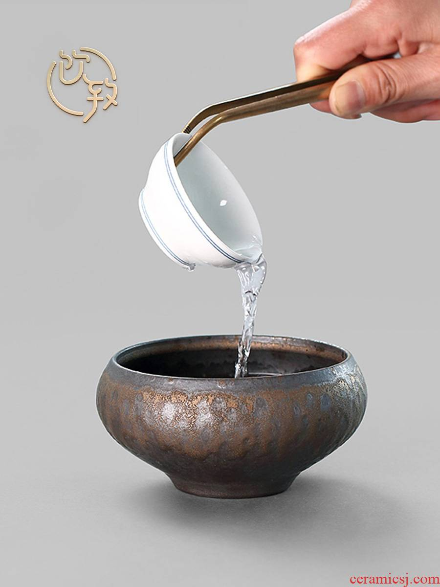 Ultimately responds to gold coarse pottery cup wash to wash to variable water jar tea Japanese tea accessories in hot water zen small cylinder