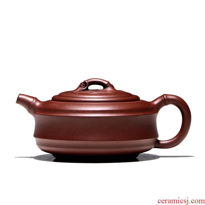 Yixing masters shadow enjoy 】 【 TaoJianChun checking ceramic tea pot - bamboo tea set all hand purple clay 250 CCCT