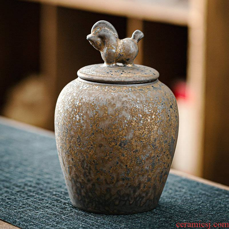 Japanese coarse pottery gold ceramic tea pot large wake tea pot small pu - erh tea storage POTS household seal pot