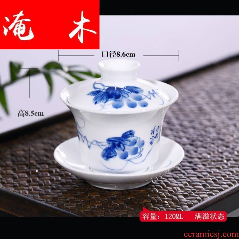 Submerged wood friends the bai shi pavilion tureen white porcelain cups, small jingdezhen blue and white porcelain hand - made kung fu three tureen mercifully