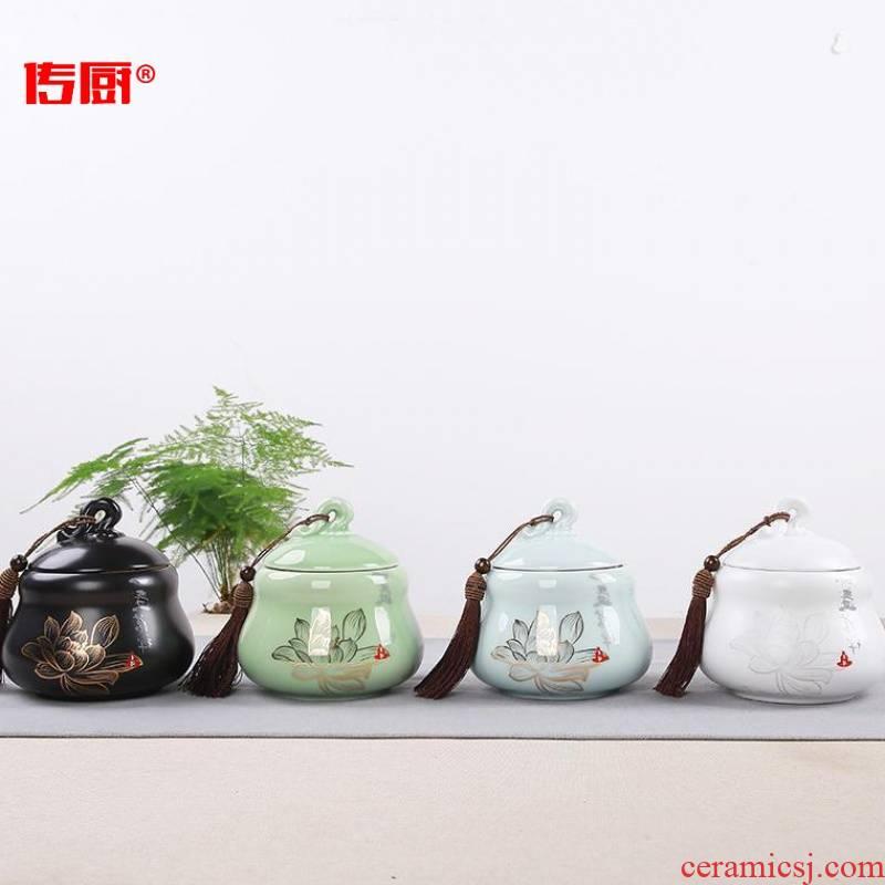 The kitchen ceramic seal caddy fixings gourd shape half jins to celadon storage tank creative safflower tea gift of tea