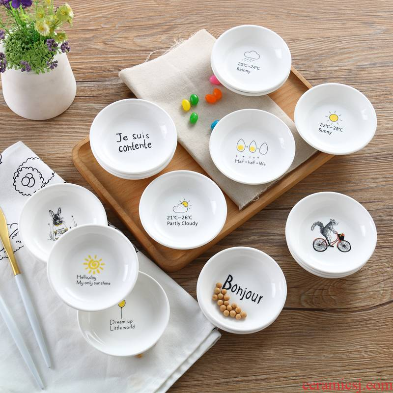 Creative ceramic household han dish taste disc children cartoon dish snack small plate plate plate vomit ipads plate soy sauce dish