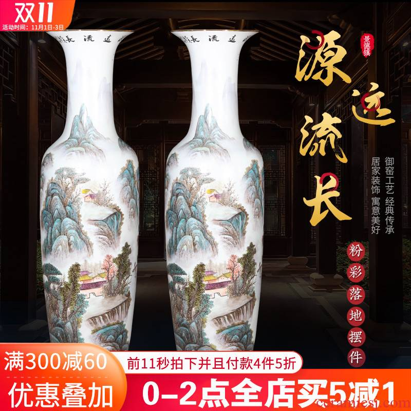 Jingdezhen ceramics hand - made pastel landscapes of large vases, new Chinese style furnishing articles version into TV ark