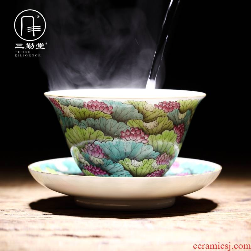 Three frequently hall tureen jingdezhen ceramic kung fu tea tea only Three bowl of pastel full technical university tureen S12045