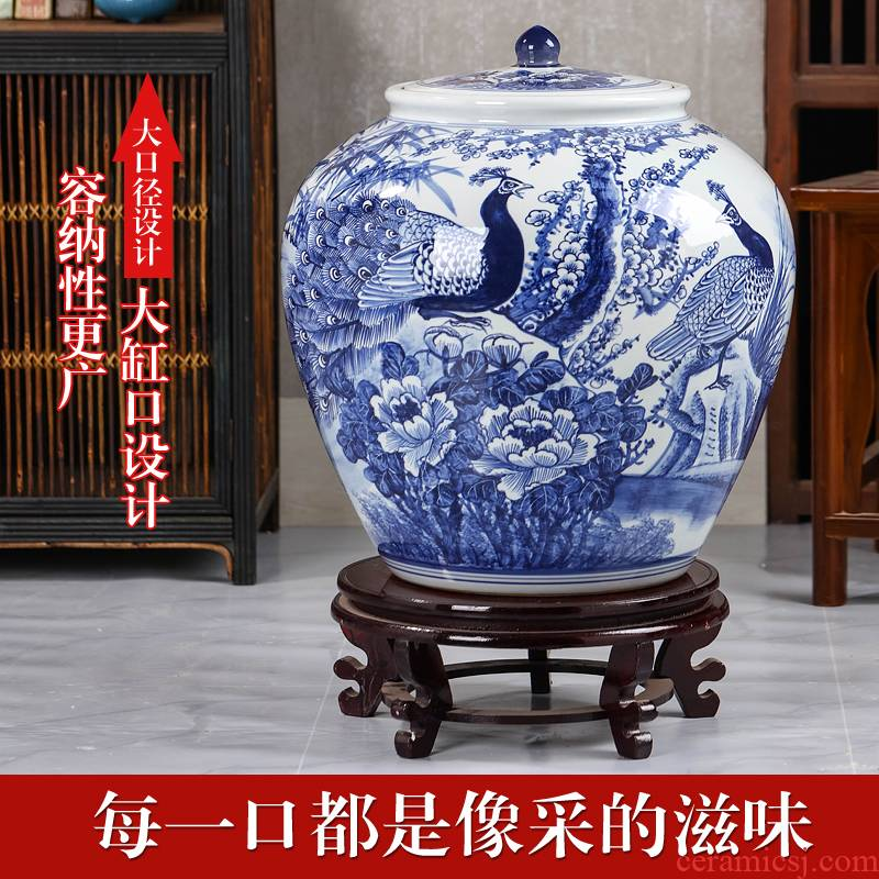 Jingdezhen blue and white porcelain tea pot size 40 heavy bread ceramic pot 10 jins puer tea pot of large capacity giant