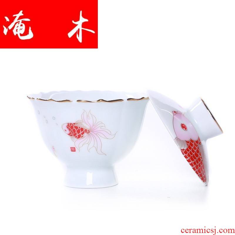 Submerged wood jingdezhen porcelain tureen ceramic cups three bowl of kung fu tea set to steak I bowl with large flowers