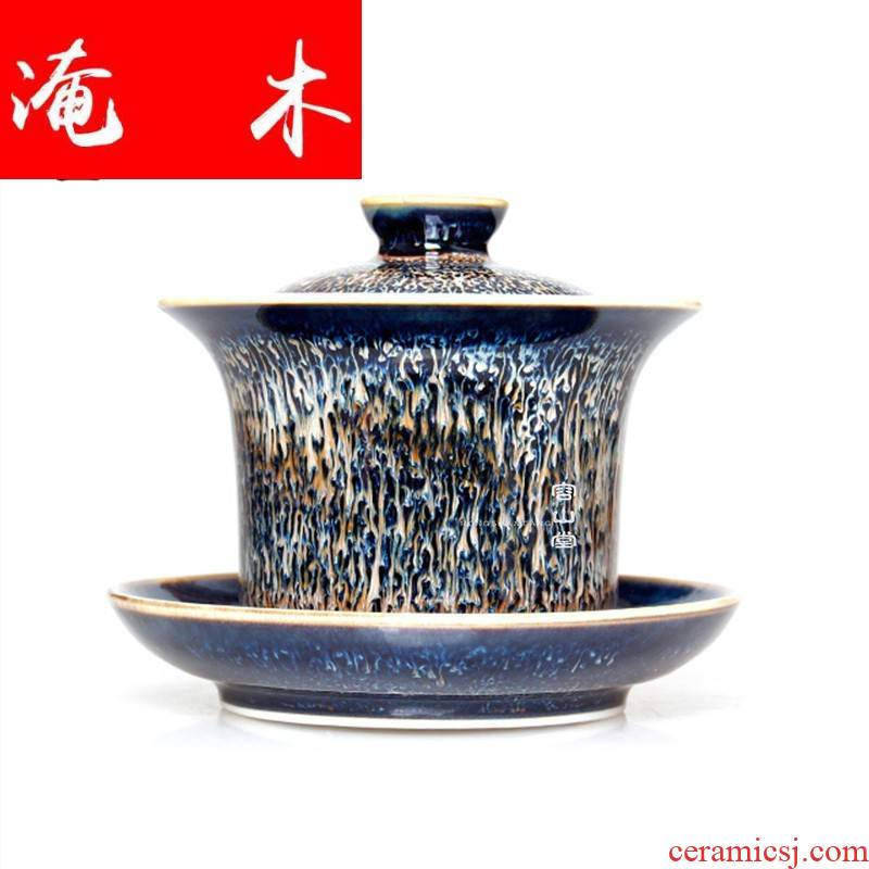 Flooded friends wooden tea tureen of pottery and porcelain teacup only three masterpieces large color glaze up kung fu tea set by hand
