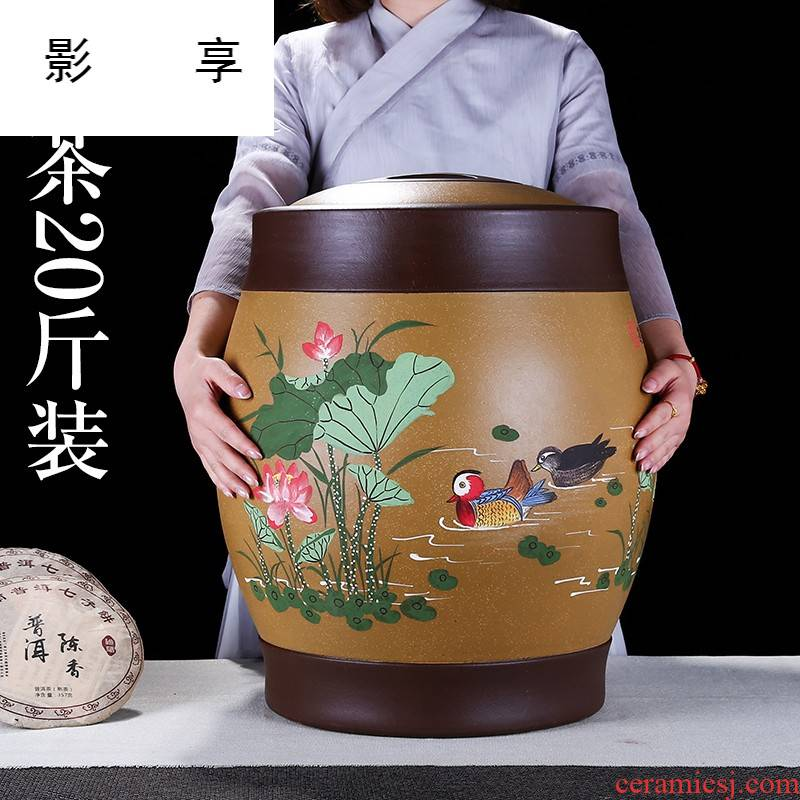 Shadow enjoy extra large purple sand tea urn heap of flowers purple large POTS of pu - erh tea storage tanks seal large tea cake tin of ZL