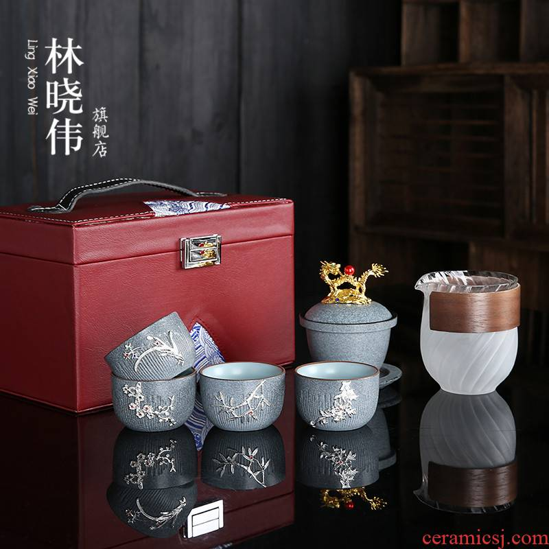 High - grade marble to crack a pot of silver fourth Japanese ceramic kung fu tea set of a complete set of portable teapot