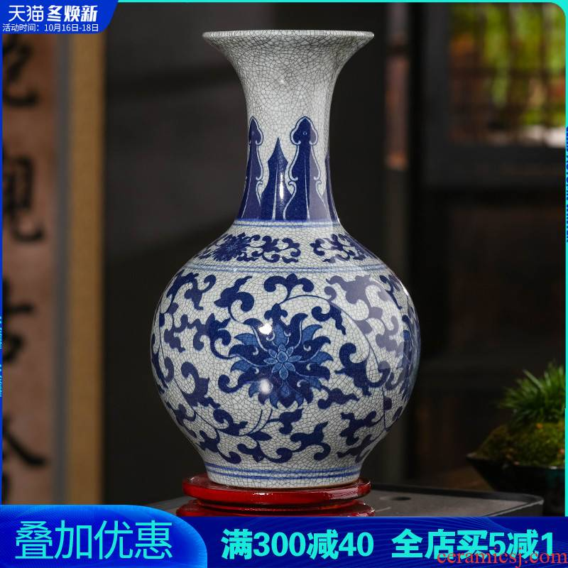 Jingdezhen ceramics archaize crack place flower arranging rich ancient frame porcelain child sitting room adornment blue and white porcelain vase