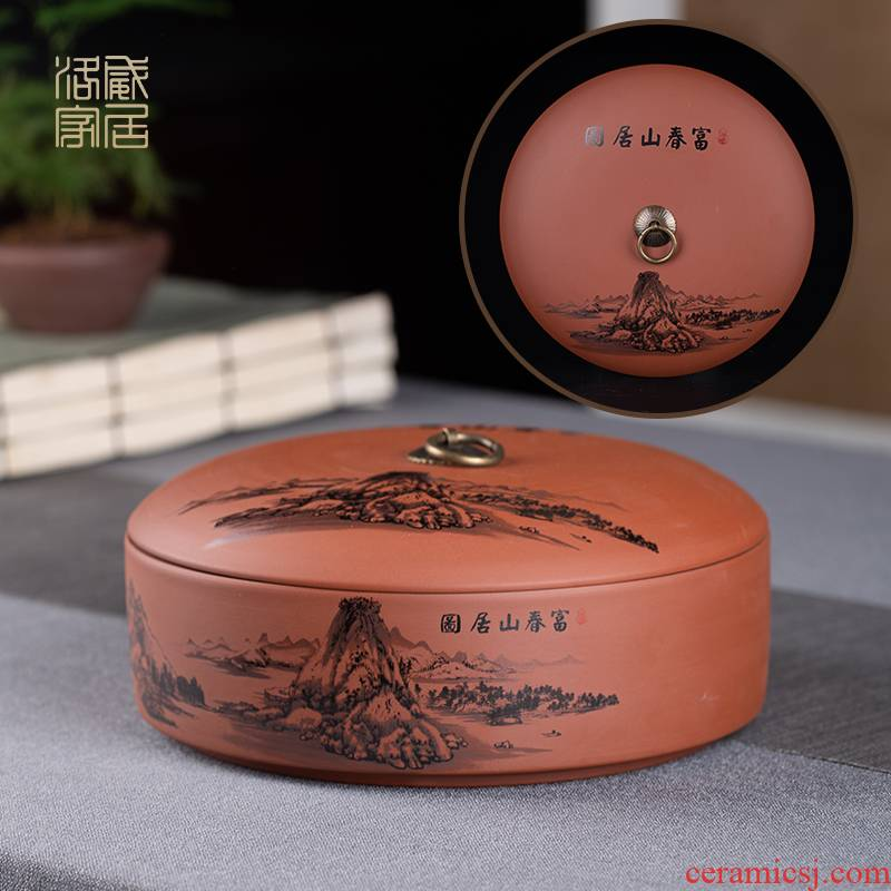 , large violet arenaceous caddy fixings seal pot household receives the receive puer tea cake boxes, tea boxes storage jar