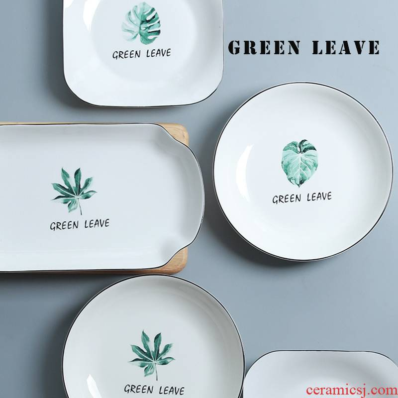 Ceramic plates home eat breakfast tray was European contracted dish jingdezhen ipads porcelain tableware dumplings plate plate plate