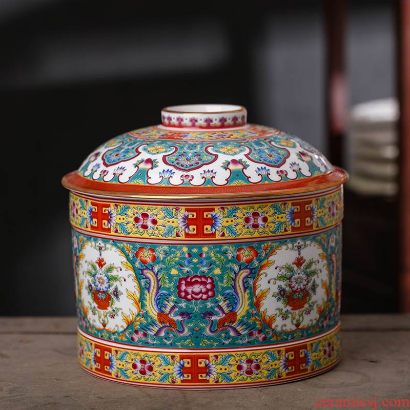 Jingdezhen enamel made pottery porcelain household pu 'er tea pot store tea king seal storage canners nine cakes