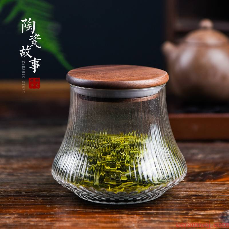 Ceramic story caddy fixings glass sealed storage tanks creative warehouse Chinese pu 'er tea pot moistureproof jar