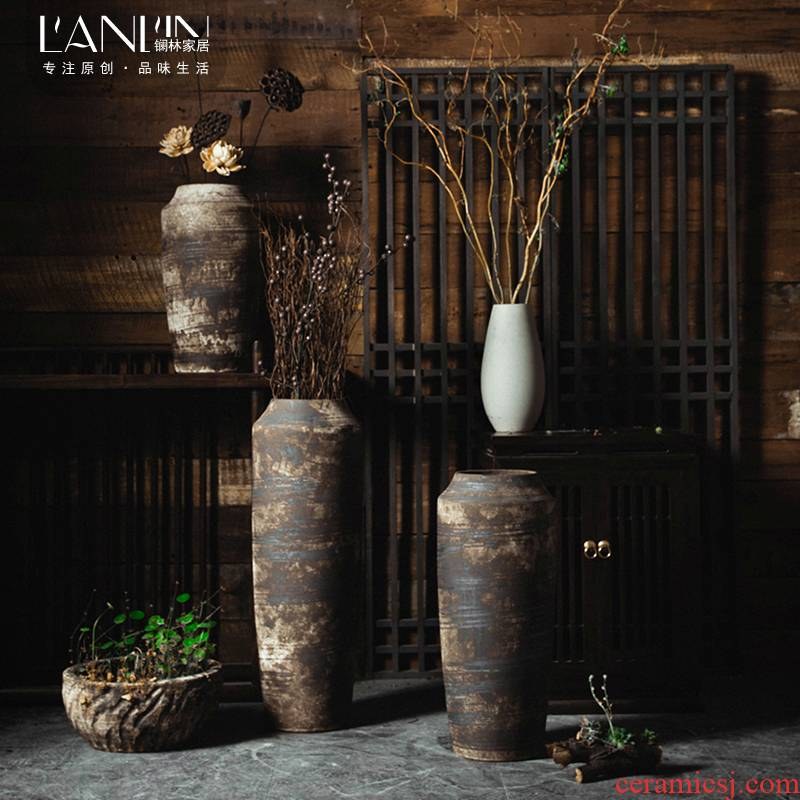 Ceramic vases, Chinese style restoring ancient ways is dried flower adornment furnishing articles sitting room put dry flower art zen landing big POTS coarse pottery