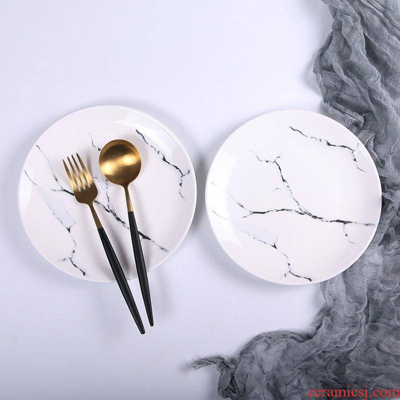 The kitchen ceramic plate creative new marble plates set tableware dinner plate household compote ins bowl