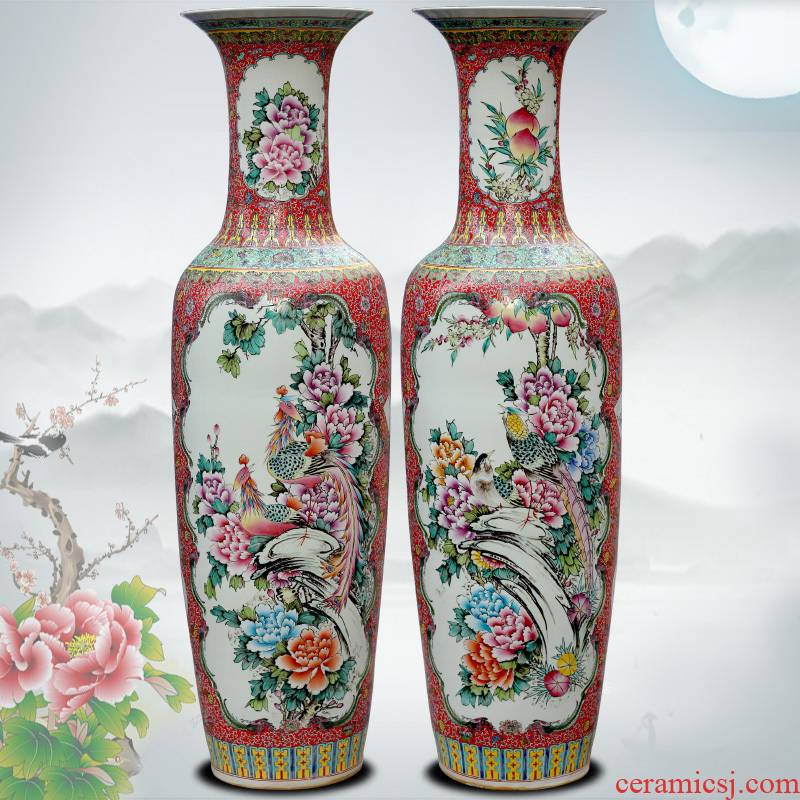 Hand - made pastel phoenix peony big vase jingdezhen ceramic floor sitting room large furnishing articles of Chinese style household act the role ofing is tasted