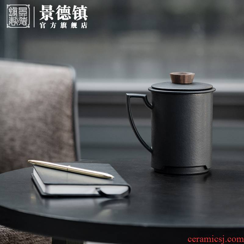 Jingdezhen ceramic tea set) grind arenaceous enamel high - end business office with household gift box set