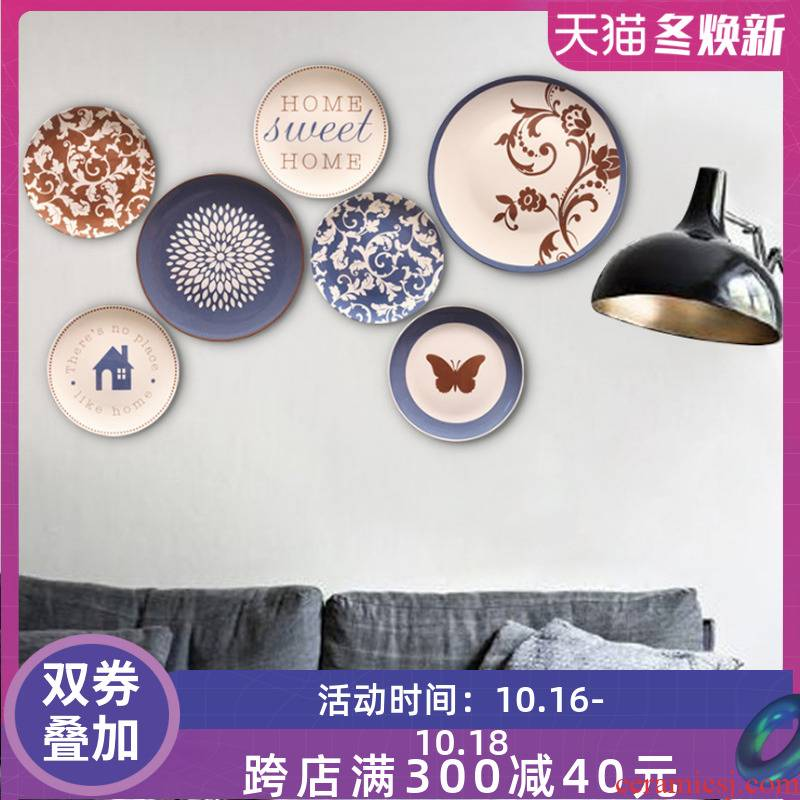 Creative hang dish wall act the role of ceramic wall act the role ofing background wall combination example room decoration pendant wall decoration on the wall