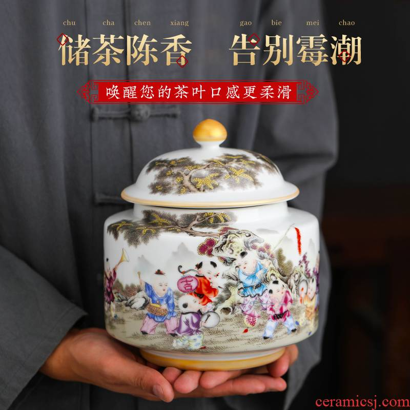 Jingdezhen ceramic small tea pot with cover half jins of household pu - erh tea, green tea to wake storage POTS