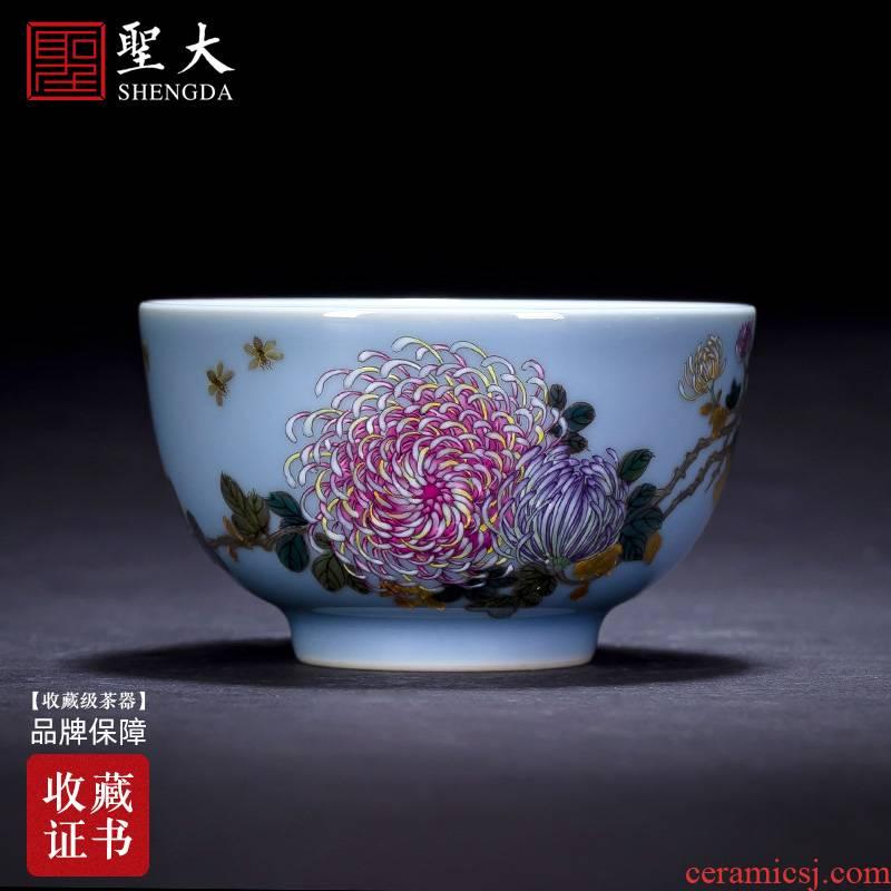 Santa teacups hand - made ceramic kungfu azure glaze enamel paint CongJu grain cup manual of jingdezhen tea service master