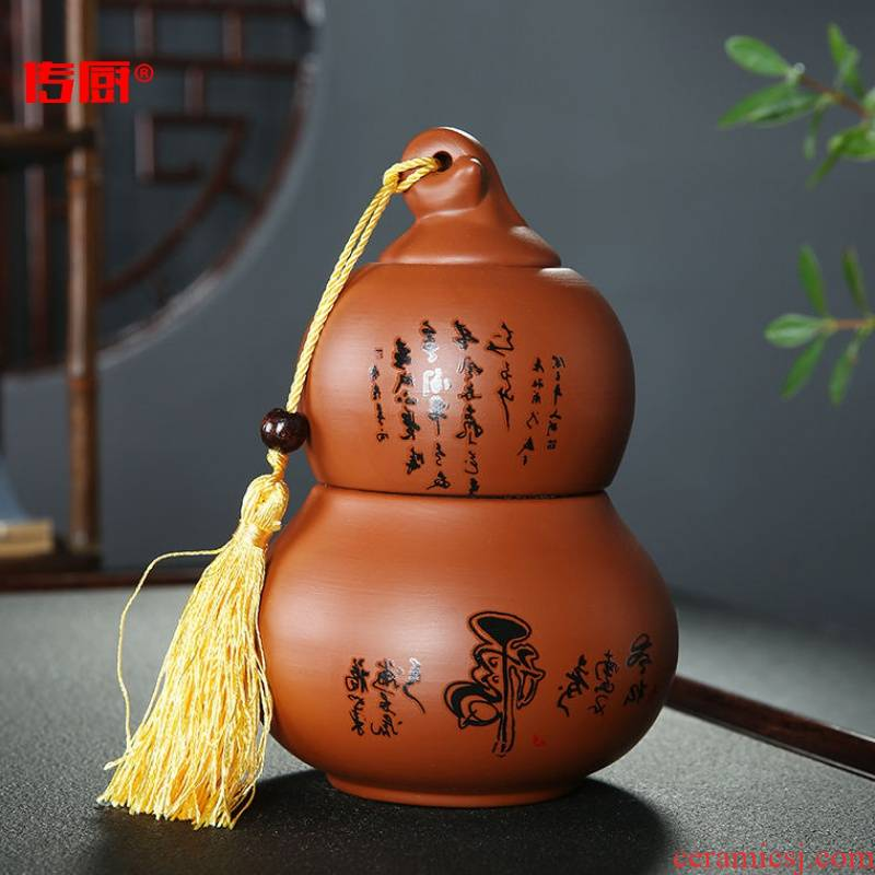The kitchen violet arenaceous gourd caddy fixings large half jins ceramic seal storage tank black tea pu 'er tea, green tea