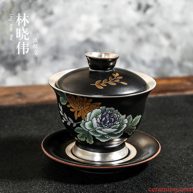 999 sterling silver hand three only tasted silver gilding tureen Japanese ceramic tea health kung fu tea accessories to the bowl