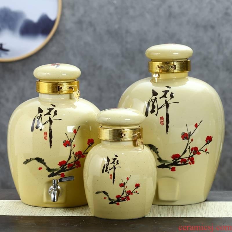 Jingdezhen ceramic bottle wine wine jar jar sealing hip 10 jins 30 jins 50 pounds with leading wine VAT