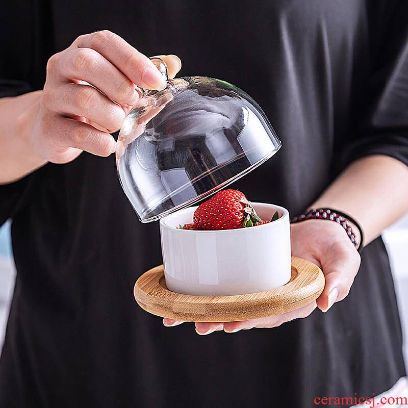 Glass ceramic dessert bowl platter household dish of afternoon tea snacks between meal nibble snacks dribbling lid creative dry fruit tray