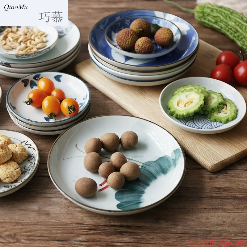 Qiao mu breakfast tray and wind under glaze color porcelain plate sushi plate cake dab of disc fruit bowl bowl dishes taste