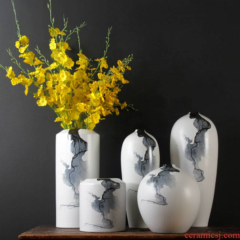 Ceramic vase three - piece mesa sitting room of new Chinese style household soft outfit dried flower arranging flowers decorative porcelain landing place