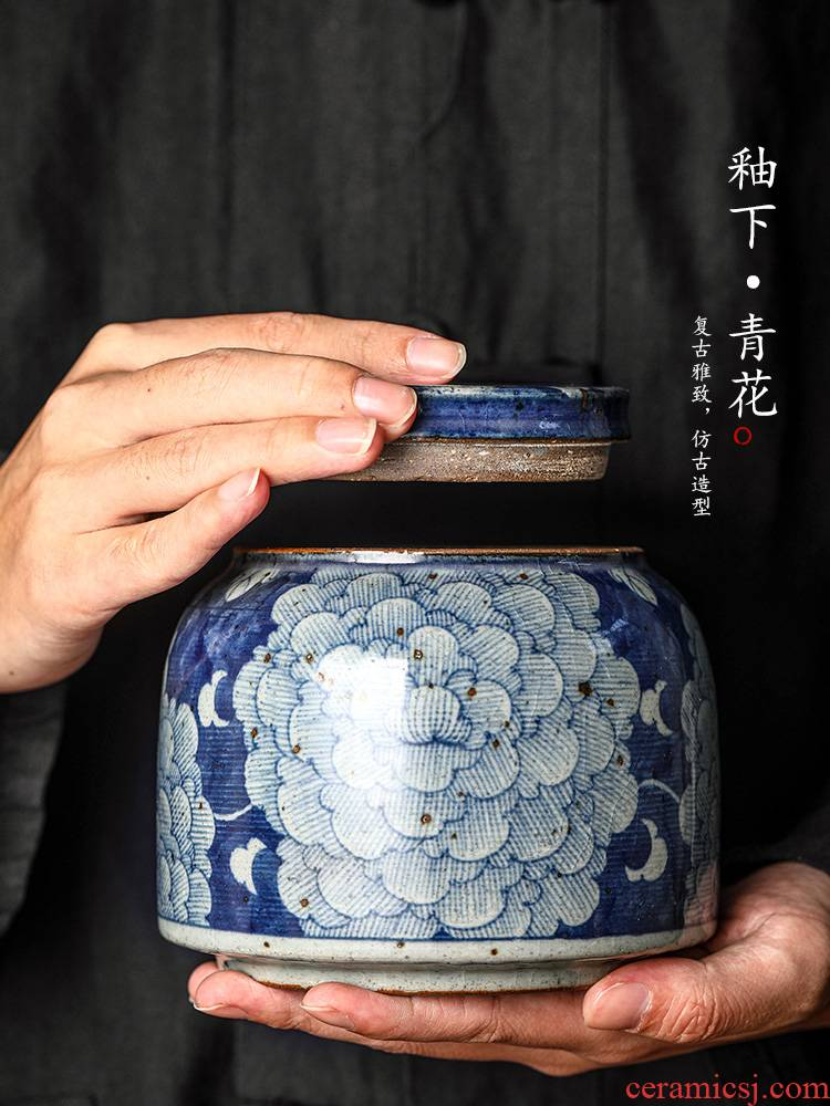 Caddy fixings large jingdezhen blue and white ceramic seal tank pure manual hand - made home peony tea storage tanks