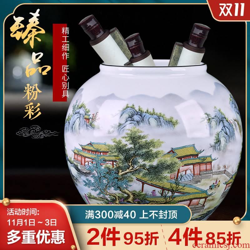 Jingdezhen ceramics furnishing articles vases, flower arranging enamel jar living room TV ark, rich ancient frame handicraft ornament