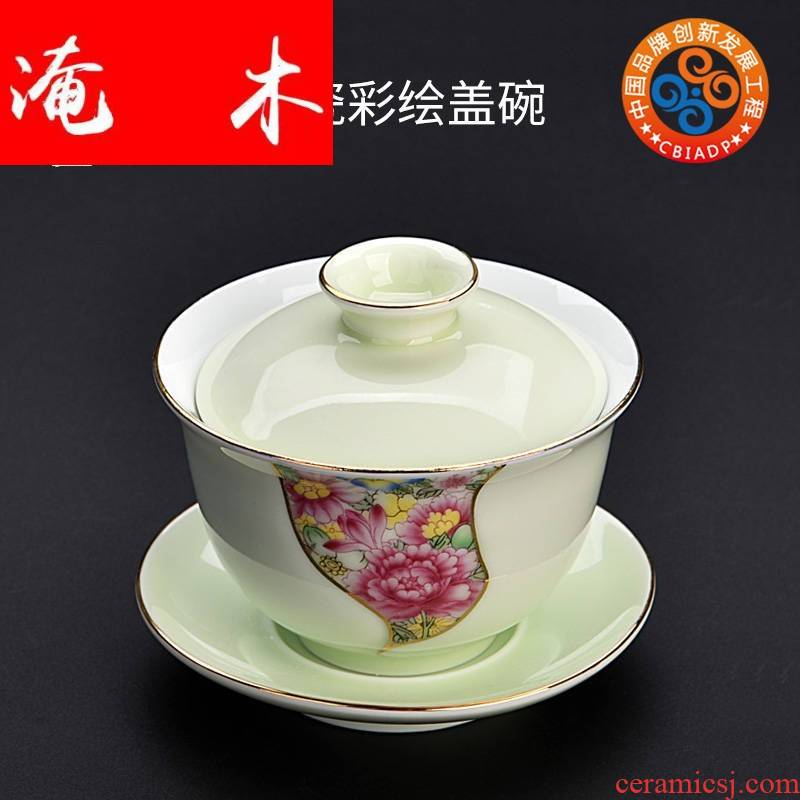 Submerged wood gode white porcelain painting tureen large ceramic three bowl is the home of kung fu tea tea cup