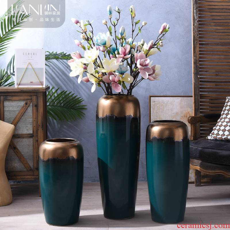 The Nordic contracted jingdezhen ceramic vase landing place dried flower arranging flowers sitting room decoration household TV ark, adornment