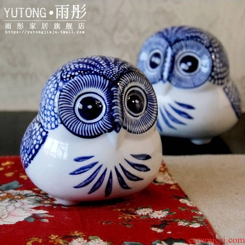 Jingdezhen blue and white porcelain ceramic owl sitting room adornment ornament furnishing articles children toy owl figurines
