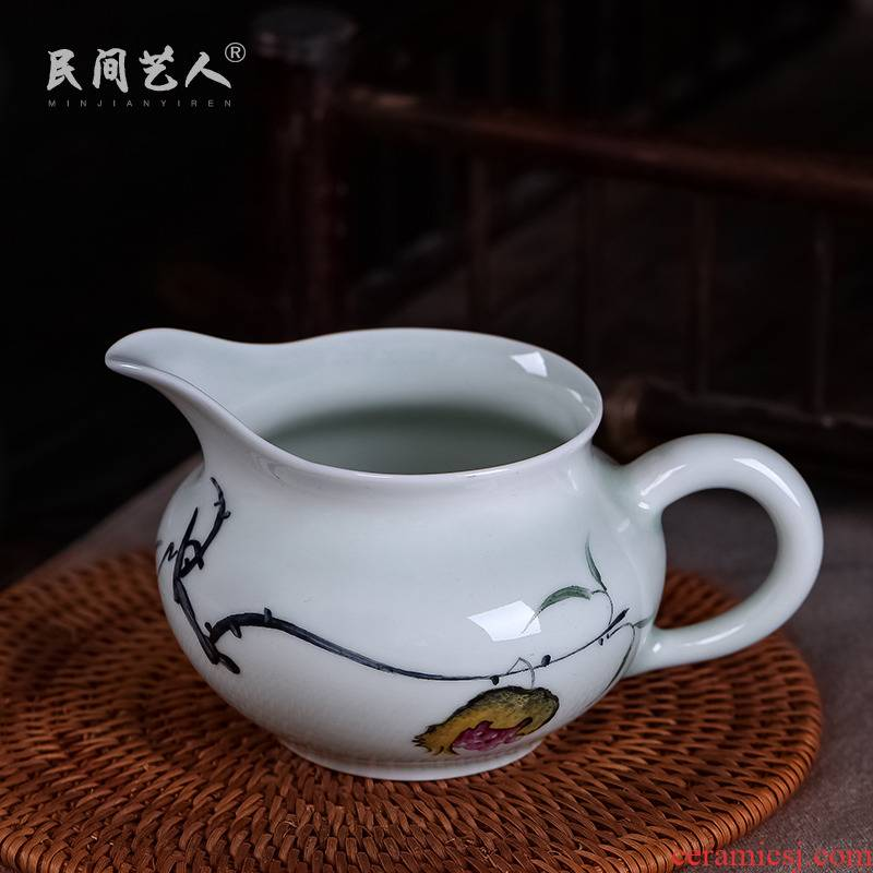 Jingdezhen ceramic hand - made color manual fair keller celadon kung fu tea tea set points and cup and cup package mail