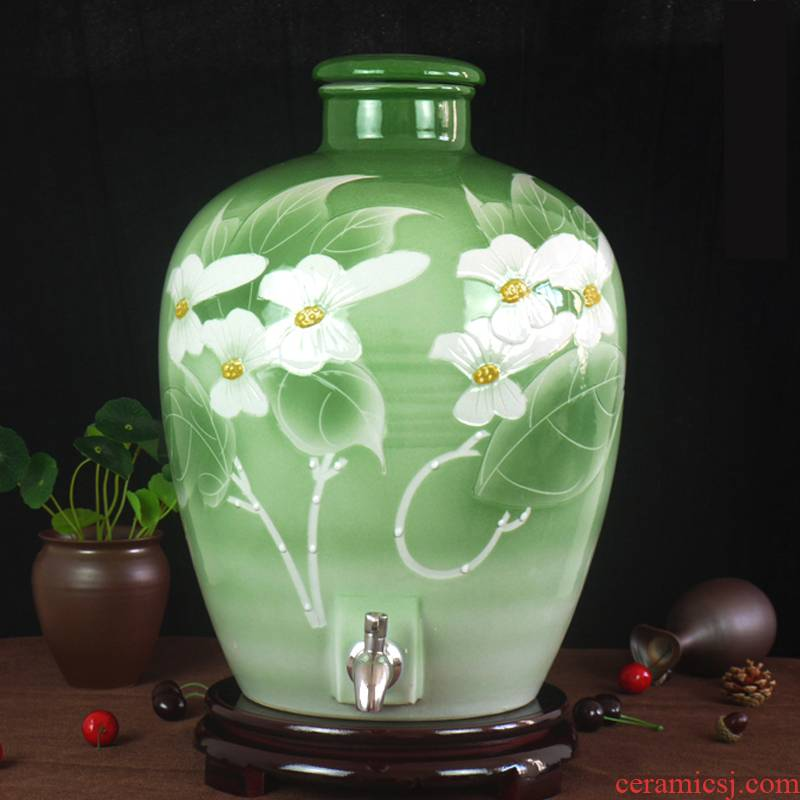 Jingdezhen ceramic jar it empty bottle expressions using with leading seal carved 20 jins 50 kg wine mercifully jars