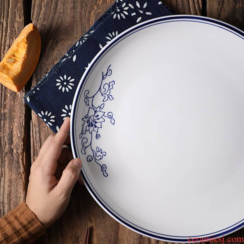 Pepper fish head blue and white big plate special dish steamed fish with large round steamed fish dish ceramic disk