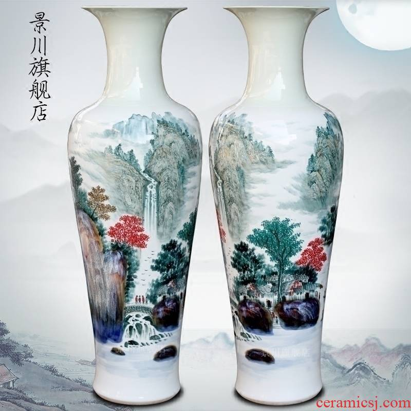 Jingdezhen ceramic bottle handicraft furnishing articles hand - made scenery south xiuse of large vase decoration opening gifts