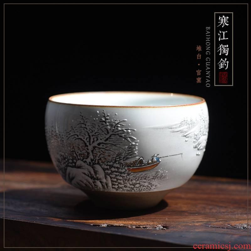 Landscape master cup single CPU jingdezhen kilns were hand - made checking ceramic teacups hand - made scenery sample tea cup of the big single CPU